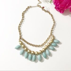 NWT Lia Sophia Gold & Turquoise statement necklace